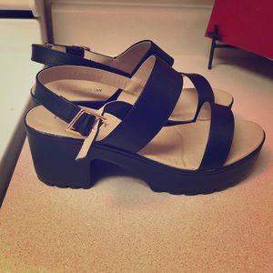 Size 8 black platform heels.